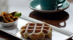 Waffles with lavender milk chocolate sauce and lavender latte from Medina Cafe in Vancouver, BC. My Favorite Food, Favorite Recipes, Lunch Restaurants, Lavender Recipes, Berry Compote, Learn To Cook, Places To Eat