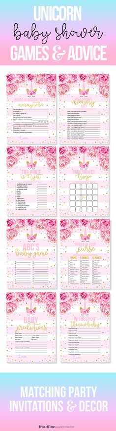Magical unicorn baby shower games for girl baby shower in pink and gold with unicorn theme illustration and peony and rose decorations. Baby shower games and advice cards. Matching Unicorn baby shower invitations and decor. DIY baby shower game set for fun baby shower.