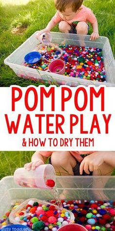 Pom Pom Water Play: an easy outdoor activity; backyard play from Busy Toddler fun for toddlers Pom Pom Water Play Outdoor Sensory Bin - Busy Toddler Toddlers And Preschoolers, Outdoor Summer Activities, Outdoor Activities For Toddlers, Toddler Learning Activities, Infant Activities, Summer Activities For Preschoolers, Tuff Tray Ideas Toddlers, Summer School Activities, Children Activities