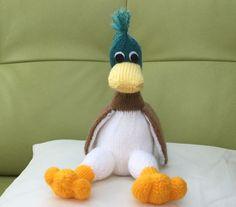 Marc the Mallard, Hand Knitted, Soft novelty toy, Nursery gift- Birthday gift, Keepsake by Incywincybabyknits on Etsy
