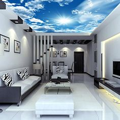 Hotel bar walls ceiling decoration ceiling wallpaper wallpaper 3D mural of blue sky and white clouds sky wallpaper - - Amazon.com