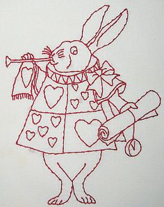 The White Rabbit from Alice in Wonderland redwork embroidery Folk Embroidery, Embroidery Transfers, Free Machine Embroidery Designs, Vintage Embroidery, Cross Stitch Embroidery, Embroidery Patterns, Quilt Patterns, Apron Patterns, Alice In Wonderland Crafts