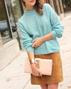 Fuzzy sweater + suede skirt