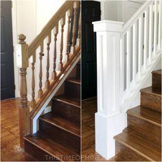 A DIY Oak Banister Makeover: Tutorial e Dicas - Home Style - Escadas Stair Newel Post, Diy Stair Railing, Staircase Railings, Stair Decor, Staircase Design, Newel Posts, Stair Bannister Ideas, Stair Posts, Spiral Staircases