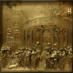 A história de José. Descoberta do copo de ouro. 1425-1452. Painel de bronze. Lorenzo Ghiberti (Florença, Itália, 1378 - 01/12/1455, Florença, Itália). Painel da 'Porta do Paraíso' situado no Batistério de São João na Praça do Duomo em Florença, região da Toscana, Itália. Encontra-se hoje no Museu da Ópera do Duomo em Florença.