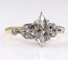 nice Antique Victorian French 1.00ct Old European Marquise Cut Diamond Engagement 18k Ring