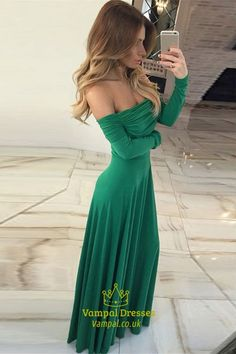 c971adb3a92 Off-The-Shoulder Simple Chiffon A-Line Prom Dress With Long Sleeves SKU  -FS3223