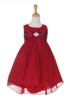a17d28108b64 Red Chiffon, Chiffon Gown, Girls Sizes, Ribbon Bows, Special Occasion  Dresses,
