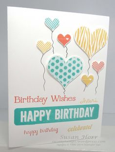 Here is a fun birthday card that used a lot of different stamp sets. Once again, I am singing the song Groovy Kind of Love because I used the Groovy Love stamp set to make the larger balloons. No...