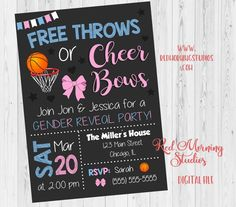 Free Throws or Pink Bows Invitation. Basketball or Bows Gender Reveal Invitation. Basketball or Bows baby shower. Gender Reveal Themes, Gender Reveal Party Invitations, Gender Reveal Decorations, Baby Gender Reveal Party, Gender Party, Invitation Ideas, Invites, Basketball Gender Reveal, Reveal Parties