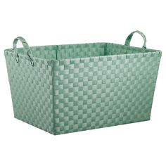 Promote good organizational habits in your kids with the attractive and functional Pillowfort Woven Rectangle Storage Bin in Mint. This kids' storage solution works in a boy's or girl's room and can easily slide on a shelf to get items out from underfoot. The sturdy handles make it easy to carry wherever it is needed.