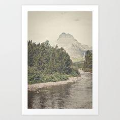 Retro Mountain River Art Print by Kurt Rahn - $16.00