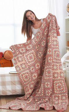Afghan (blanket) - Crochet Granny Squares Blanket Pattern
