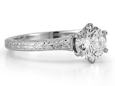 Engagement Ring - Wheat Hand Engraved Diamond Solitaire Engagement Ring in 14K White Gold - ES1186BRWG