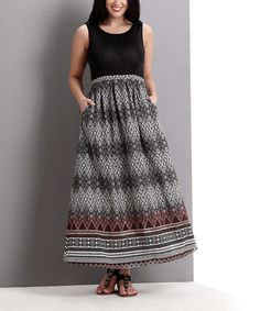 Look at this Black & Taupe Diamond Maxi Dress - Plus on #zulily today!
