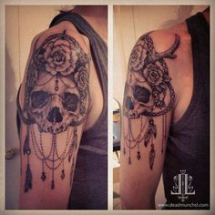 skull tattoo ink rose punk