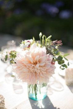 rustic blush dahlias wedding centerpiece