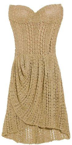 vestido dourado giovana crochet - Pesquisa Google