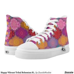 Happy Vibrant Tribal Bohemian High Top Sneakers - Canvas-Top Rubber-Sole Athletic Shoes By Talented Fashion And Graphic Designers - Men's Sneakers, Custom Sneakers, Sneakers Fashion, Fashion Shoes, High Top Sneakers, Trendy Fashion, Mens Fashion, Canvas Slip On Shoes, Graphic Designers