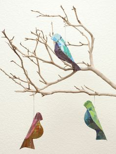 Recycled Paper Bird Ornaments Set of 3 from Kid-Friendly Home on Gilt