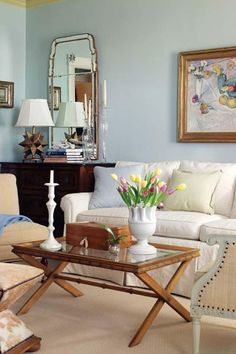 Barbara Pervier via Better Homes & Gardens. Chest as side table for couch.