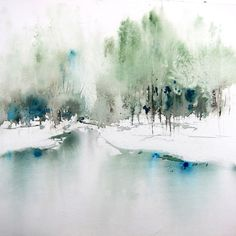 Shades of Blue Tranquility Art Indigo Art Monochrome Etsy Watercolor Landscape Paintings, Watercolor Trees, Abstract Watercolor, Watercolor And Ink, Watercolor Illustration, Abstract Landscape, Watercolour Painting, Watercolors, Painting Snow