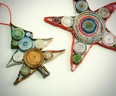 Knock Off Coiled Paper Christmas Ornaments: don't pay a fortune for the store-bought version! Make these homemade Christmas ornaments with recycled magazines instead.