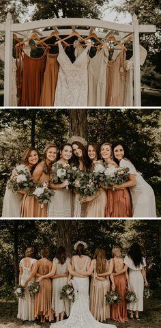 fall bridesmaid dresses for outdoor backyard wedding Fall Wedding Bridesmaids, Winter Bridesmaid Dresses, Mismatched Bridesmaid Dresses, Groomsmen Attire Fall Wedding, Backyard Wedding Dresses, Plain Wedding Dress, Fall Wedding Dresses, Backyard Weddings, Bride Dresses