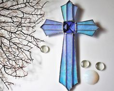 Religious Gift Wall Art Cross Decoration Christian Gift Christening Turquoise Blue Stained Glass Cross Gift for Mom Decorative Crosses