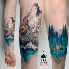 "1,382 Likes, 17 Comments - Rodrigo Tas (@rodrigotas) on Instagram: ""Loneliness #wolftattoo #wolf #foresttattoo #treetattoo #rodrigotas #tas #watercolortattoo…"""