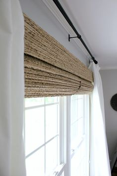 Farmhouse Woven Shades - - When we had our shades installed for our Family room, I was amazed at how beautiful they looked and I knew I wanted them for our bedroom. Bedroom Windows, Living Room Windows, Home Living Room, Living Room Decor, Living Room Blinds And Curtains, Curtains For Bedroom Window, Bedroom Window Coverings, Bedroom Window Dressing, Kitchen Window Dressing