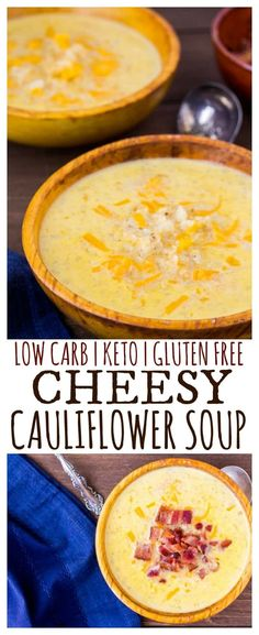 Soup - Cheesy Cauliflower Soup is an easy-to-make, delicious low-carb recipe! This keto friendly soup has only 6 net carbs per serving and is also gluten free! It's a great recipe for meal prep and can be frozen for later use. Low Carb Soup Recipes, Keto Recipes, Cooking Recipes, Healthy Recipes, Low Carb Soups, Dinner Recipes, Dessert Recipes, Cheesy Cauliflower Soup, Cauliflower Soup Recipes