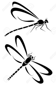 Two Dragonfly Tribal Tattoos Royalty Free Cliparts, Vectors, And ...