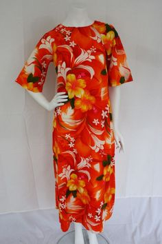 """4f5a7ef724ed Details about Vtg 70's Blue Palm & Red Hibiscus """"Royal Hawaiian"""" Dress w  Short Bell Sleeves 12"""