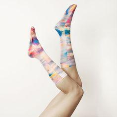 Hand Printed Socks -- Paris Skies Sunset Print. $36.00, via Etsy.