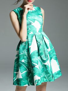 Buy it now. Green Leaves Print A-Line Dress. Green Round Neck Sleeveless Polyester A Line Short Print Fabric has no stretch Summer Casual Day Dresses. , vestidoinformal, casual, camiseta, playeros, informales, túnica, estilocamiseta, camisola, vestidodealgodón, vestidosdealgodón, verano, informal, playa, playero, capa, capas, vestidobabydoll, camisole, túnica, shift, pleat, pleated, drape, t-shape, daisy, foldedshoulder, summer, loosefit, tunictop, swing, day, offtheshoulder, smock, print...