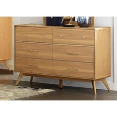 Contemporary Wooden Dresser With 6 Drawers, Light Ash Brown, Benzara 9 Drawer Dresser, Dresser With Mirror, Long Dresser, Mirror Set, Light Wood Dresser, Light Ash Brown, Brown Brown, Light Oak, Brown Hair