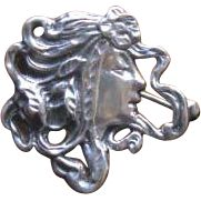 Vintage 1930's Sterling Silver Lady Face Brooch Pendant from WhimsicalVintage Exclusively on Ruby Lane