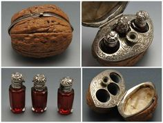 Century French Hinged Walnut Case with Scent Bottles and Funnel Französisches Walnuss-Sch Steampunk Accessoires, Steampunk Bags, Steampunk Weapons, Gadgets, Larp, Little Things, Perfume Bottles, Baby Bottles, Creations