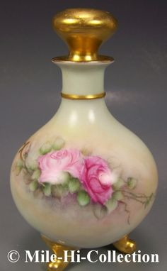 LIMOGES HAND PAINTED ROSES PERFUME BOTTLE | eBay