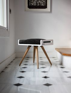 NEW Stool / Seat / stool / Ottoman / bench in white by Habitables