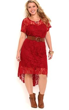 Plus Size Lace High Low Dress with Illusion Cap Sleeves and Belt