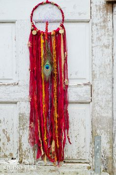 Boho Bollywood Dreamcatcher, Red, Burgundy, Peacock Feather, India, Colorful…