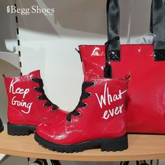 ❗Bold ❗Fun❗Trendy❗With just the right amount of attitude 🔴 Words our store team have used to describe these boots from Remonte - just delivered to our stores and with a matching bag. Get them here 👉  www.beggshoes.com/remonte-d8675-35 #remonte #redboots #bootsoftheday #remonteboots Women's Lace Up Boots, Red Boots, Doc Martens Style, Bags 2014, Boots Store, Boot Brands, Black Ribbon, Red Lace, Rubber Rain Boots