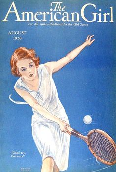"American Girl 1928-08  Red-headed girl missing a tennis ball coming her way: ""Good try, Carrots"""