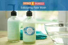 Exfoliating Face Wash - Make an all natural exfoliating face wash at home using organice aloe vera gel, peppermint Castille soap, Jojoba oil, vegetable glycerin, tea tree & green jojoba pearls. DIY by @sophieuliano on Home and Family.