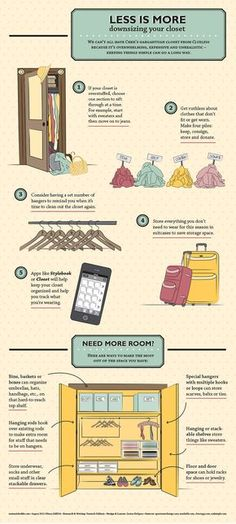 """fashioninfographics: """"Downsizing your closet - Less is More Via """""""