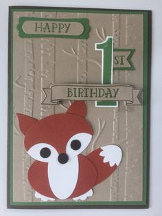 Cute fox punch art card made by Stampin Up punches, stamp set and embossing folder.