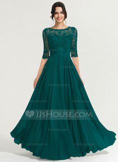 A-Line Scoop Neck Floor-Length Chiffon Evening Dress With Sequins - Evening Dresses - JJ's House Brides Mom Dress, Mother Of The Bride Dresses Long, Beautiful Dresses, Nice Dresses, Dresses With Sleeves, Vestidos Fashion, Fashion Dresses, Chiffon Evening Dresses, Evening Gowns