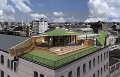 Renderings, and a photomontage in particular, are particularly good at showing the integration of landscapes into designs. The lush lawn may be a stretch for this green roof by Sandvold Blanda, but it is nevertheless a good argument for taking advantage of flat roofs in cities. Here the design uses green roofs for both insulating and recreational qualities.